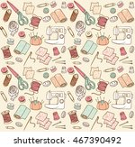 sewing seamless doodle vector... | Shutterstock .eps vector #467390492