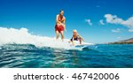 father and son surfing together ... | Shutterstock . vector #467420006