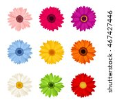 vector set of nine colorful... | Shutterstock .eps vector #467427446