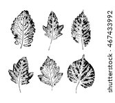 set of vector leaf imprints.... | Shutterstock .eps vector #467433992