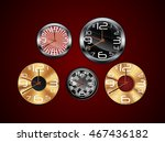 wall clock on a red background... | Shutterstock .eps vector #467436182