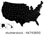 vector usa black map with... | Shutterstock .eps vector #46743850