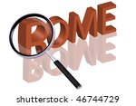 exploring city red letters in 3D part of word enlarged by magnifying glass Rome Italy city trip holiday tourism icon button travel traveling visit - stock photo