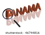 exploring city red letters in 3D part of word enlarged by magnifying glass Panama city trip holiday tourism icon button travel traveling visit - stock photo