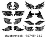 heraldic angel wings icons with ... | Shutterstock .eps vector #467454362