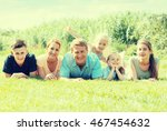 happy man and woman with four... | Shutterstock . vector #467454632