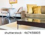 beautiful pillow on sofa... | Shutterstock . vector #467458805