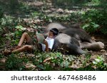 asia boy sleeping in the forest ... | Shutterstock . vector #467468486