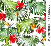 tropical leaves pattern. green... | Shutterstock . vector #467520272