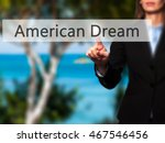 Small photo of American Dream - Isolated female hand touching or pointing to button. Business and future technology concept. Stock Photo