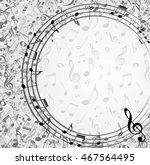 frame with music notes. | Shutterstock . vector #467564495