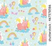seamless pattern. cute pony...   Shutterstock .eps vector #467578586