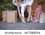 two girls sit on a bench ... | Shutterstock . vector #467588036