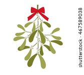 hanging mistletoe with red bow | Shutterstock .eps vector #467589038