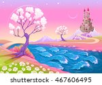 fantasy landscape with castle.... | Shutterstock .eps vector #467606495