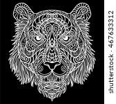 tiger head zodiac artistic... | Shutterstock .eps vector #467633312