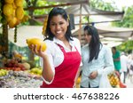mexican saleswoman on a farmers ... | Shutterstock . vector #467638226