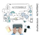Small photo of Man using laptop on workplace and ACCESSIBLE concept