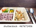 thai meal in a box  lunch box... | Shutterstock . vector #467671406