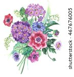 bouquet of spring flowers.... | Shutterstock . vector #467676005