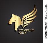 3d horse winged gold logo  ... | Shutterstock .eps vector #467678336