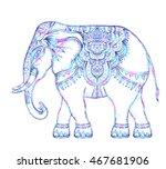beautiful hand drawn tribal...   Shutterstock .eps vector #467681906