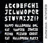 happy halloween party lino cut... | Shutterstock .eps vector #467693858