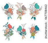 hand drawn flower bouquets  for ... | Shutterstock .eps vector #467708462