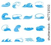 cartoon water wave icons set....