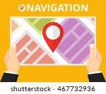 hands holding a map with... | Shutterstock .eps vector #467732936