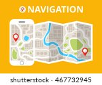 smartphone with mobile gps... | Shutterstock .eps vector #467732945