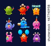 fantastic aliens with birthday... | Shutterstock .eps vector #467740958