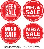 mega sale red label set  ... | Shutterstock .eps vector #467748296