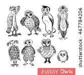 set of cartoon owls and owlets... | Shutterstock .eps vector #467784206