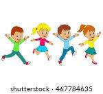 kids boys and girls running ... | Shutterstock .eps vector #467784635