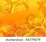 vector floral orange background | Shutterstock .eps vector #46779679
