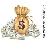 bag with packs of dollars money ...   Shutterstock .eps vector #46780867