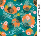 cute tropical seamless pattern... | Shutterstock .eps vector #467821406