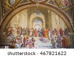 Small photo of ROME, ITALY - APRIL 8, 2016: The School of Athens, Raphael room's in Museums of Vatican.