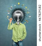 lamp head man have got a great...   Shutterstock . vector #467829182