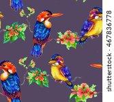 beautiful bright birds and... | Shutterstock . vector #467836778