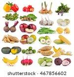 fruit and vegetable on white... | Shutterstock . vector #467856602