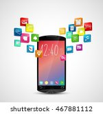 black smart phone with... | Shutterstock . vector #467881112
