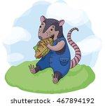 Illustration Cute Possum Eatin...