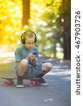young boy listening to music... | Shutterstock . vector #467903726