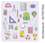 back to school flat icons... | Shutterstock .eps vector #467907362