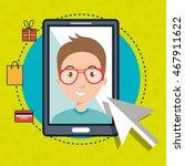 man smartphone shopping online... | Shutterstock .eps vector #467911622