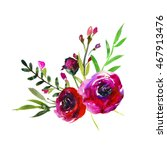 watercolor burgundy flowers... | Shutterstock . vector #467913476