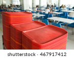 Stock photo red plates in mess hall 467917412
