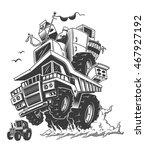 construction truck on back...   Shutterstock .eps vector #467927192